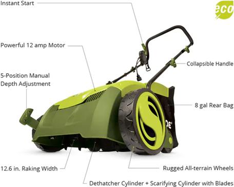 Sun Joe Corded-Electric Scarifier Lawn Dethatcher