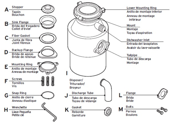 KitchenAid garbage disposal parts
